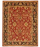 RugStudio presents Due Process Peshawar Agra Red-Black Hand-Knotted, Best Quality Area Rug